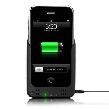 The bright green LED is activated when your iPhone is being charged. It cannot be turned off - and is <i>very</i> bright! Note the mini-USB connector on the side. This acts as a pass-thru sync cable when you're in charge mode.