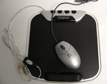 Warm mouse pad/w integrated 4-port USB hub