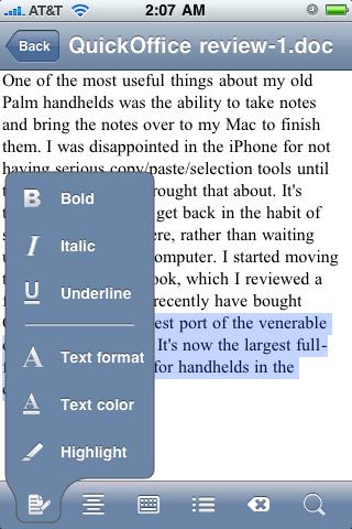 QuickOffice lets you change font style and color.