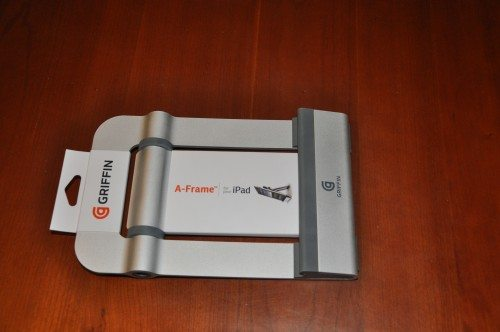 The Griffin A-Frame iPad stand in it's minimal packaging.
