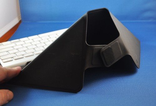 Origami case folded back into stand.