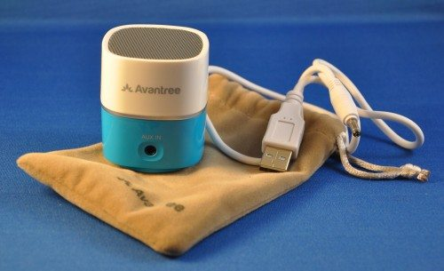 The Avantree speaker is a compact package with a USB charging cable and a plush carry bag.