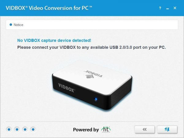 After The Converter Box Is Found Wizard Asks For Recording Time Of Video Transfer Will Occur In Real So This A Useful Feature If
