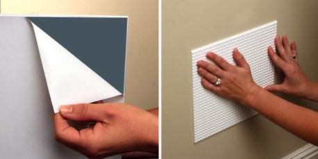 The Back Of Each Flexible Wall Tile Has A Temporary Adhesive That Can Be Used Multiple Times To Attach Tiles Smooth Surfaces Like Walls Doors